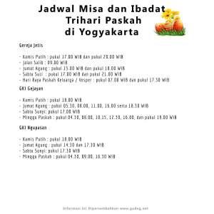 Jadwal Misa dan Ibadat Trihari Paskah (3 - habis)