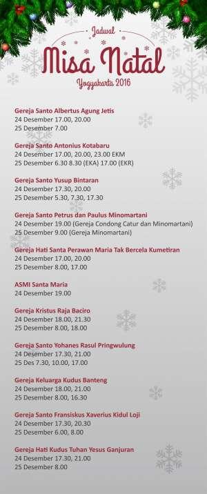 Jadwal Misa Natal Yogyakarta 2016