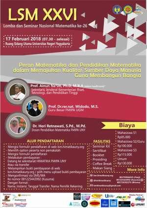 "LSM XXVI: ""Peran Matematika dan Pendidikan Matematika dalam Memajukan Kualitas Sumber Daya Manusia Guna Membangun Bangsa"""
