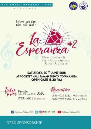 "New Comers & Pre-Competition Choir Concert ""La Esperanza"""