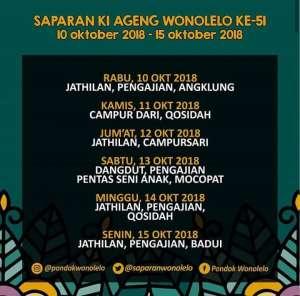 Jadwal Saparan Ki Ageng Wonolelo 10-15 Okt 2018