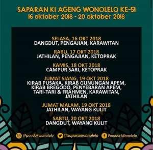 Jadwal Saparan Ki Ageng Wonolelo 16-20 Okt 2018