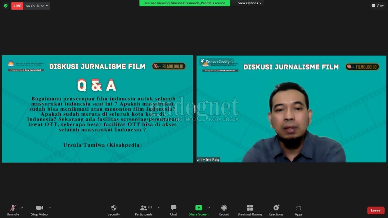 Webinar Kelas Filmologi UAJY Bahas Jurnalisme Film