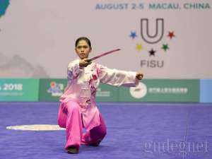 Kamilia Lituhayu dari UNY Sabet Perak Kejuaraan Wushu Dunia Tingkat Universitas